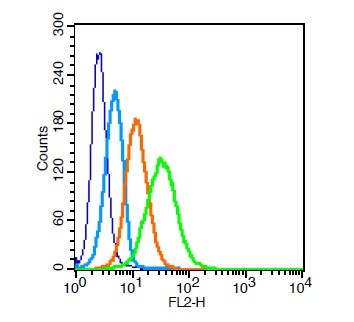 Human U937 cells probed with CD31 Polyclonal Antibody, Unconjugated (bs-0195R)  at 1:20 for 30 minutes followed by incubation with a PE conjugated secondary (green) for 30 minutes compared to control cells (blue), secondary only (light blue) and isotype control (orange).