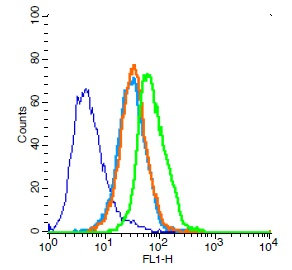 Human Jurkat cells probed with CD31 Polyclonal Antibody, Unconjugated (bs-0195R) (green) at 1:100 for 30 minutes followed by a FITC conjugated secondary antibody compared to unstained cells (blue), secondary only (light blue), and isotype control (orange).
